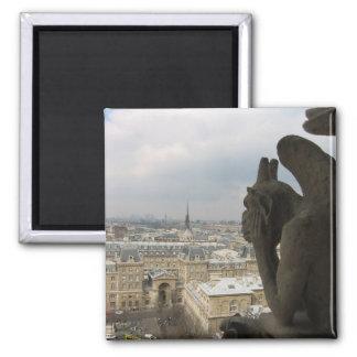 Reflexión del Gargoyle parisiense Imán Cuadrado