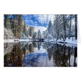 Reflexión del invierno en Yosemite Tarjeta De Felicitación
