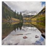 Reflexión del lago mountain con colores de la caíd tejas  ceramicas