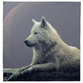 Reflexión del lobo servilleta imprimida
