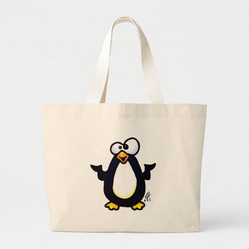 Reflexión del pingüino bolsas lienzo