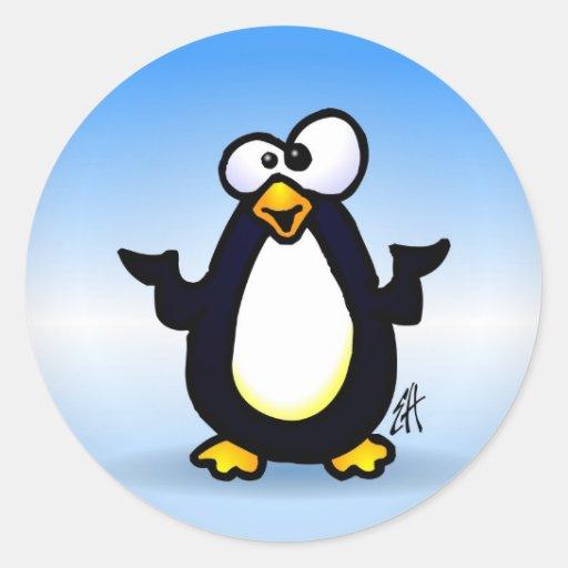 Reflexión del pingüino pegatinas redondas