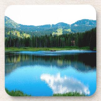 Reflexión del resplandor del verano del agua posavaso