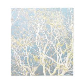 Reflexión delicada - aguamarina y amarillo bloc de papel