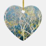 Reflexión delicada - aguamarina y amarillo ornamento para arbol de navidad
