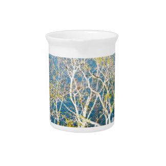 Reflexión delicada - aguamarina y amarillo jarras de beber