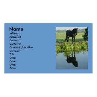 Reflexión frisia del caballo en agua tarjetas de visita