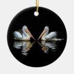 Reflexión hermosa de los pelícanos en fondo negro ornamento de reyes magos