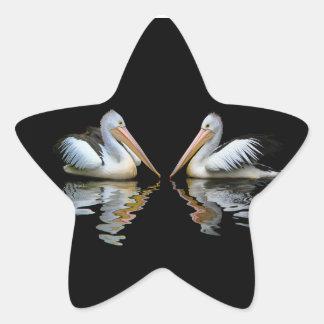 Reflexión hermosa de los pelícanos en fondo negro pegatina en forma de estrella