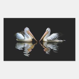 Reflexión hermosa de los pelícanos en fondo negro pegatina rectangular