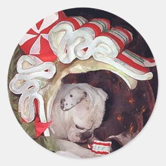 Reflexión inglesa del navidad del dogo pegatinas