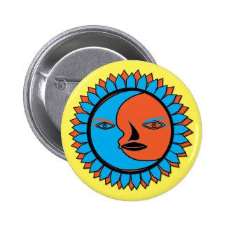 REFLEXIÓN redonda del SOL de la LUNA del botón Pin Redondo De 2 Pulgadas