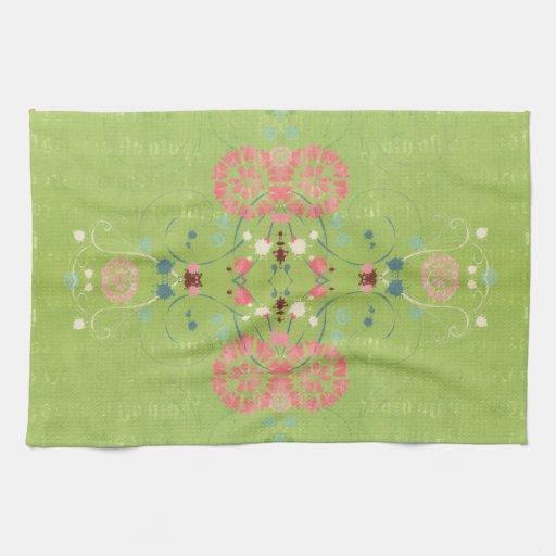 Reflexión verde toallas de mano