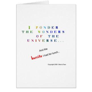 Reflexione el universo divertido tarjeta de felicitación
