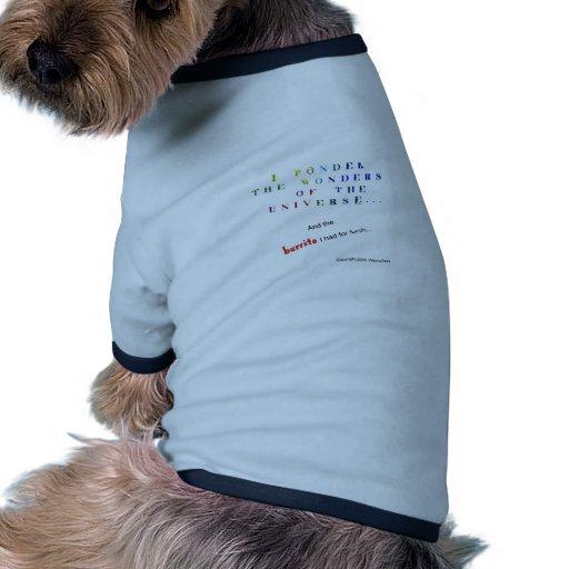 Reflexione el universo camiseta con mangas para perro