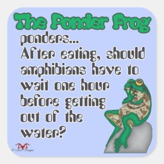 Reflexione los anfibios de la rana pegatina cuadrada