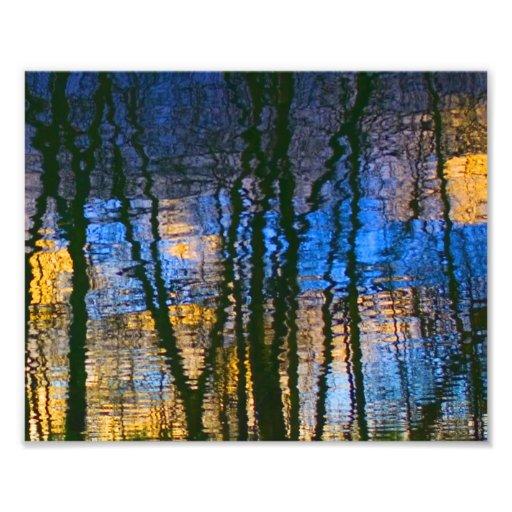 Reflexiones abstractas azules y amarillas modelada arte fotografico