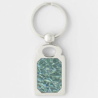 Reflexiones cristalinas de la superficie del agua llavero plateado rectangular