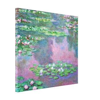 Reflexiones de la charca del lirio de agua impresión en lienzo