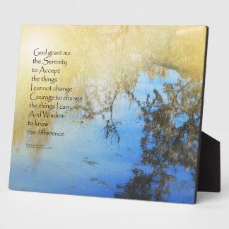 Reflexiones de la charca del rezo de la serenidad placas para mostrar