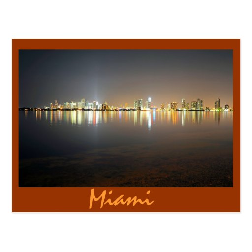 Reflexiones de la ciudad mágica, Miami, FL Tarjeta Postal