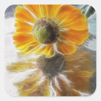 Reflexiones de la flor del Helenium Pegatina Cuadrada