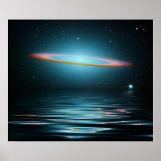 Reflexiones de la galaxia del sombrero impresiones