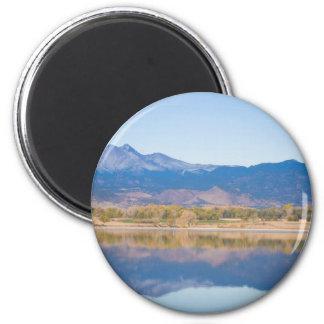 Reflexiones de la montaña rocosa de Colorado Imán Redondo 5 Cm