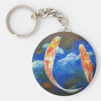 Reflexiones de la nube de los pescados de Koi Llavero Redondo Tipo Pin