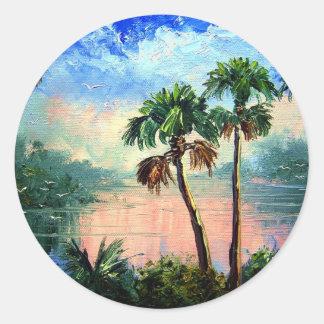 Reflexiones de la palmera pegatina redonda