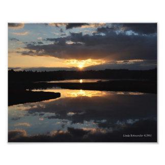 reflexiones de la puesta del sol 8X10 Fotografía