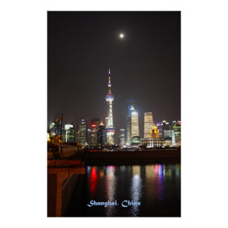 Reflexiones de Shangai en la noche Póster