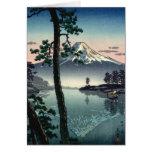 Reflexiones de una montaña japonesa felicitacion