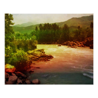 Reflexiones del arco iris sobre el río Himalayan Póster