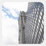 Reflexiones del cielo de Nueva York Pegatina Cuadradas