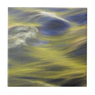 Reflexiones del oro en el agua azul azulejo ceramica