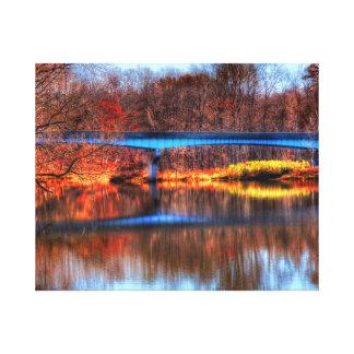 Reflexiones del puente - lona envuelta impresiones de lienzo