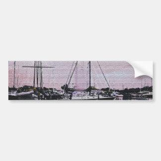Reflexiones del puerto deportivo etiqueta de parachoque