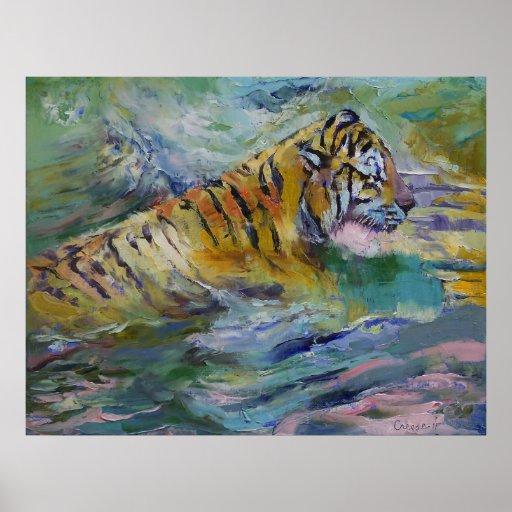Reflexiones del tigre impresiones