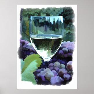 Reflexiones del vino blanco poster