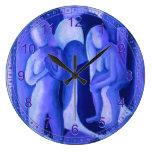 Reflexiones en ángeles azules azules abstractos de relojes de pared
