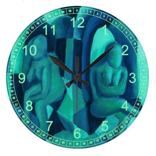 Reflexiones en el azul I, ángeles abstractos de la Relojes De Pared