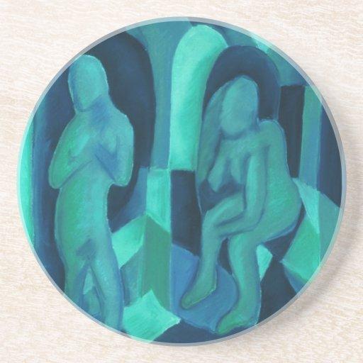 Reflexiones en el azul I - ángeles ciánicos de la  Posavasos Personalizados