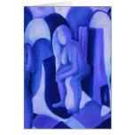 Reflexiones en el azul II - ángeles azules abstrac Tarjeta