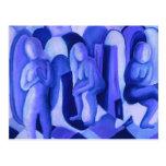 Reflexiones en el azul II - ángeles azules Postal
