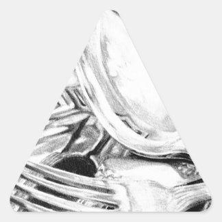 Reflexiones en plata pegatina triangular