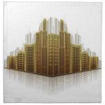 Reflexiones urbanas de oro servilleta de papel