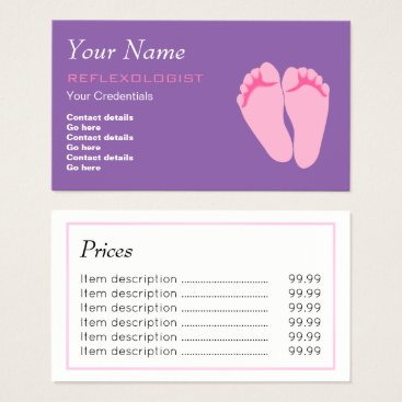 Professional Business Reflexologist Price Business Cards