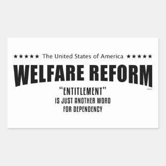 Reforma del bienestar rectangular pegatinas