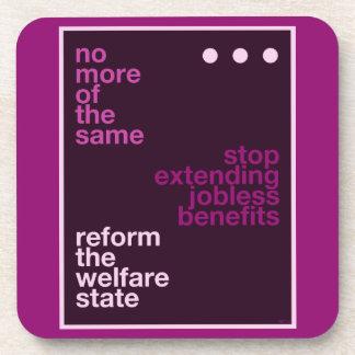 Reforma del bienestar posavasos de bebida
